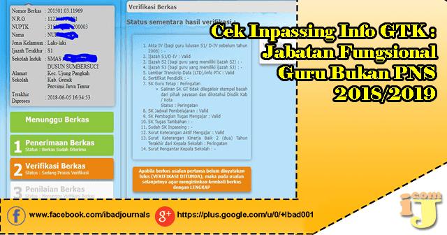 Cek Inpassing Info GTK: Jabatan Fungsional Guru Bukan PNS 2018/2019