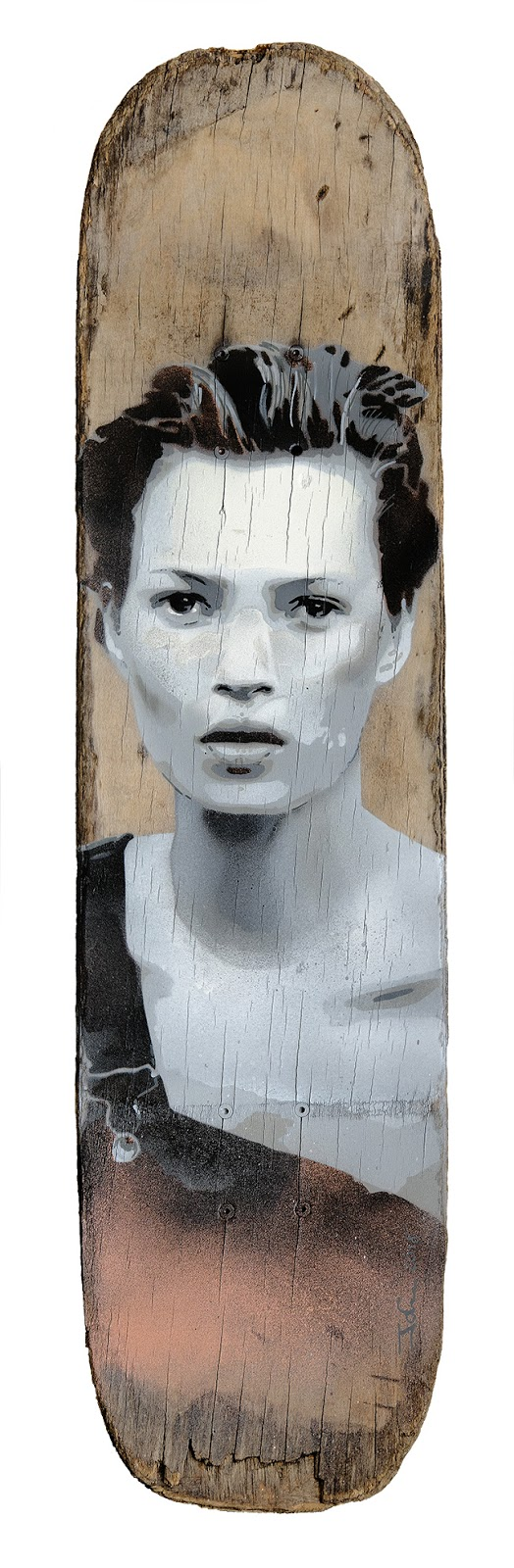 Kate Moss - skateboard artwork created by artist James Straffon