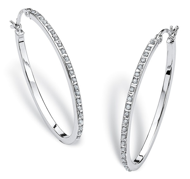 Diamond Sterling Silver Hoop Earrings