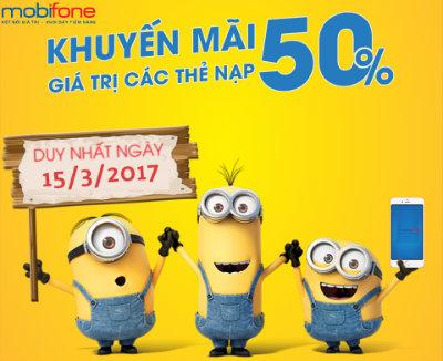 Khuyến mãi Mobifone tặng 50% thẻ nạp ngày 15/3