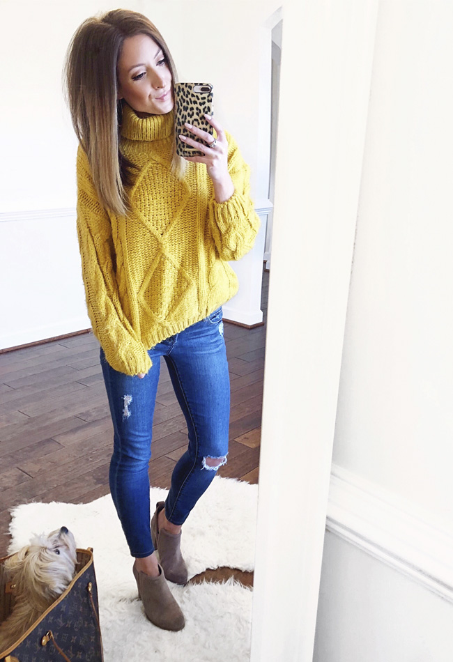 she is boutique merry in mustard sweater