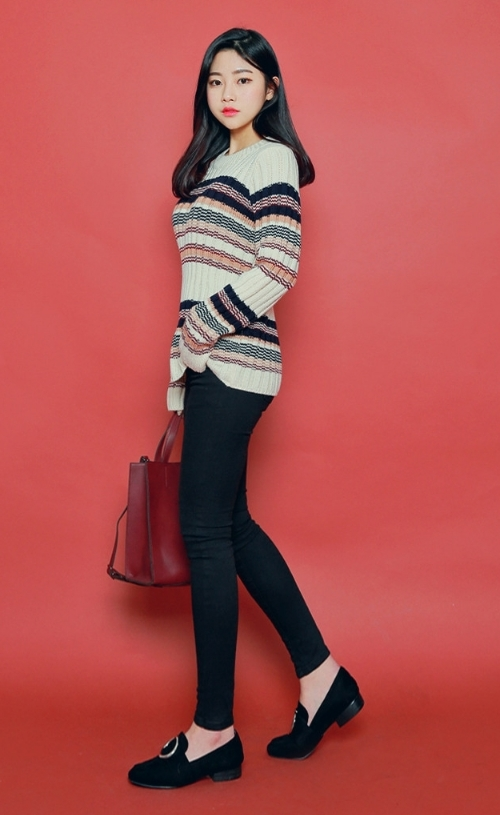 Tweed Pattern Accent Sweater
