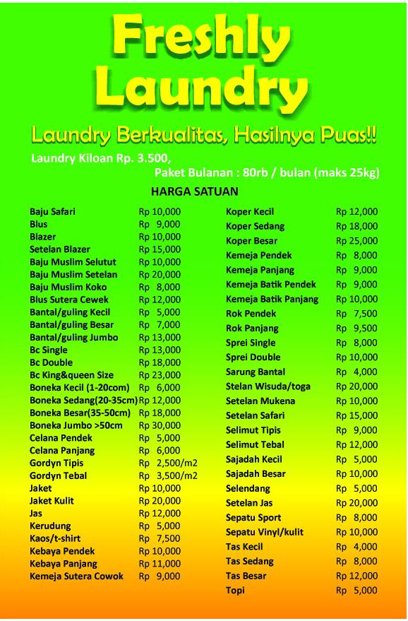 Freshly Laundry Cirebon Daftar Harga