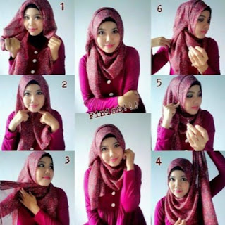 Tutorial hijab pashmina wajah bulat untuk kuliah