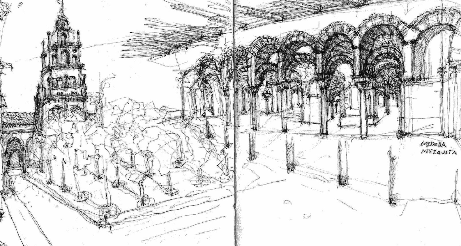 Cordoba Spain Quick Sketch Of Courtyard And