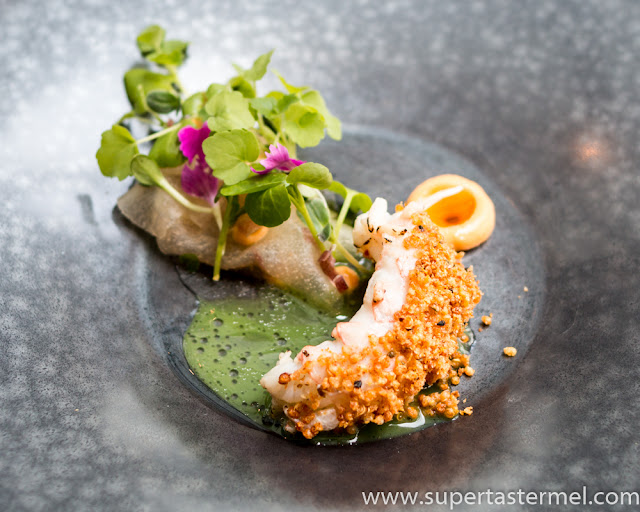 "langoustine with kombucha and ""Boemboe"" de librije"
