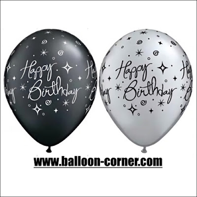 Balon Latex Print HAPPY BIRTHDAY Black & White