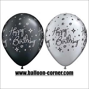 Balon Latex Printing HAPPY BIRTHDAY Black & White