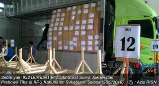 Ketua KPU Kab. Sukabumi Ferry Gustaman kepada sukabumiNews mengatakan, sejumlah 932 dus dan 1,862.532 lembar surat suara yang diterimanya ini sesuai dengan ekspedisi.