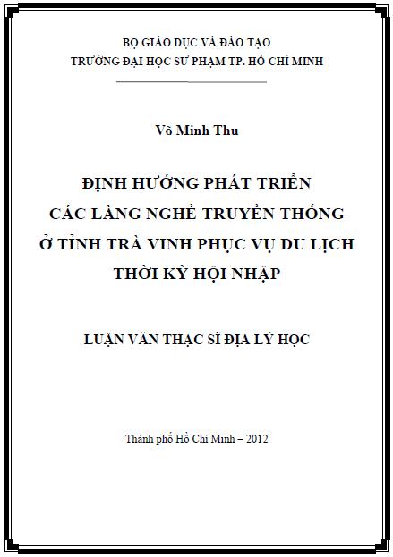 Định hướng phát triển các làng nghề truyền thống ở tỉnh Trà Vinh phục vụ du lịch thời kỳ hội nhập