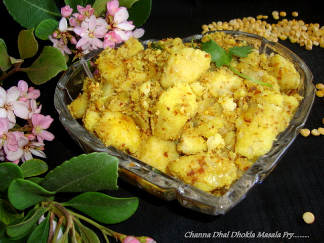 images of Channa Dhal Dhokla Masala Fry / Dhokla Masala Fry Recipe