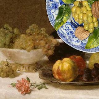 """Henri Fantin-Latour : Nature morte, détail – Christine Viennet : assiette de fruits d'automne, détail - - """"Après Fantin-Latour"""", Exposition de produits dérivés inspirés par l'univers du peintre Henri Fantin-Latour, Galerie de la Marraine"""