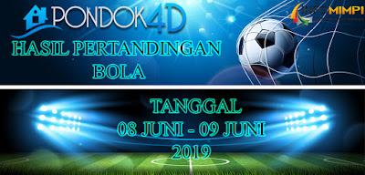HASIL PERTANDINGAN BOLA TANGGAL 08 JUNI – 09 JUNI 2019