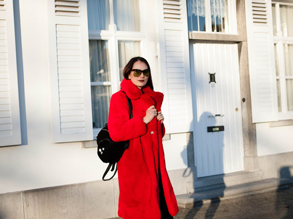 Red fur coat and platform boots