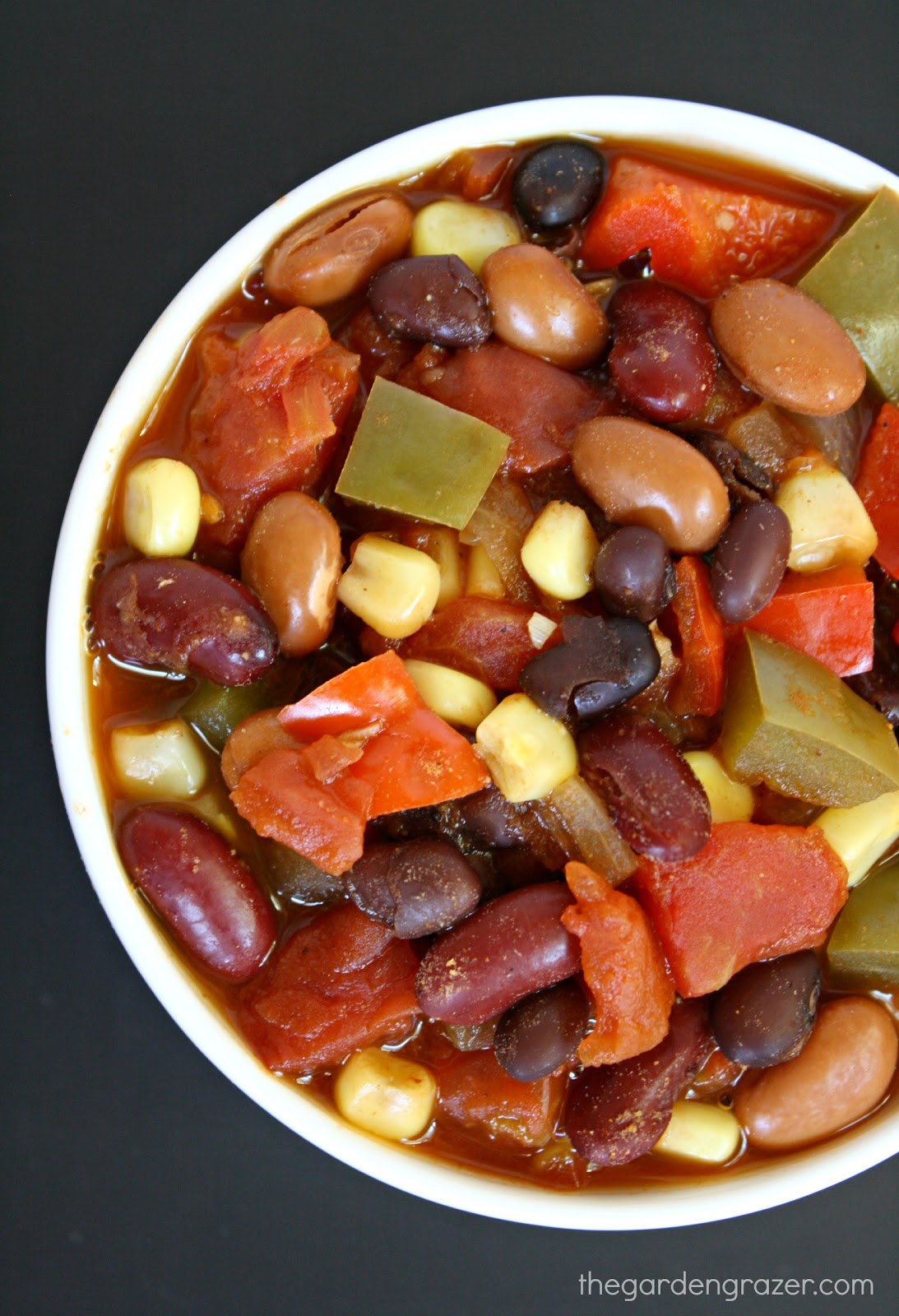 The Garden Grazer: Three-Bean Fiesta Chili