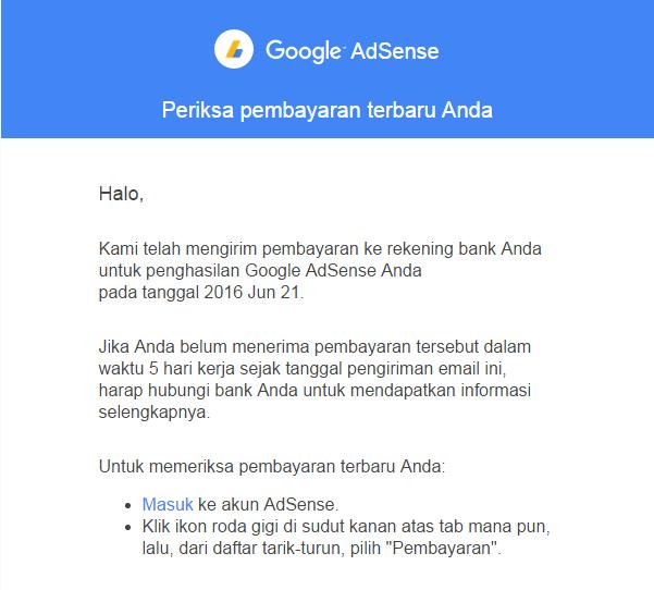 Menerima Pembayaran Pertama Google Adsense