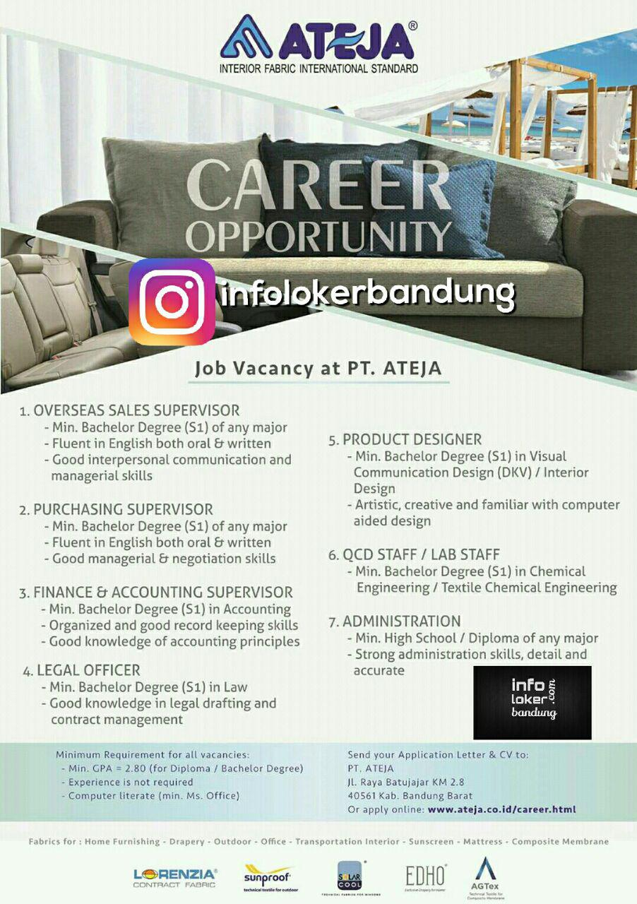 Lowongan Kerja PT. Ateja Tritunggal Bandung Mei 2017