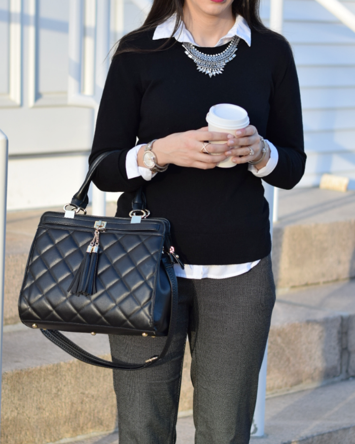 Black Tasseled Quilted Bag and JCPenney Worthington Work outfit