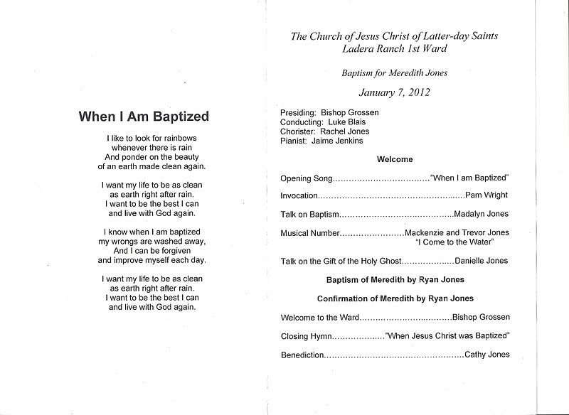 Jones Party of Six Baptism Program