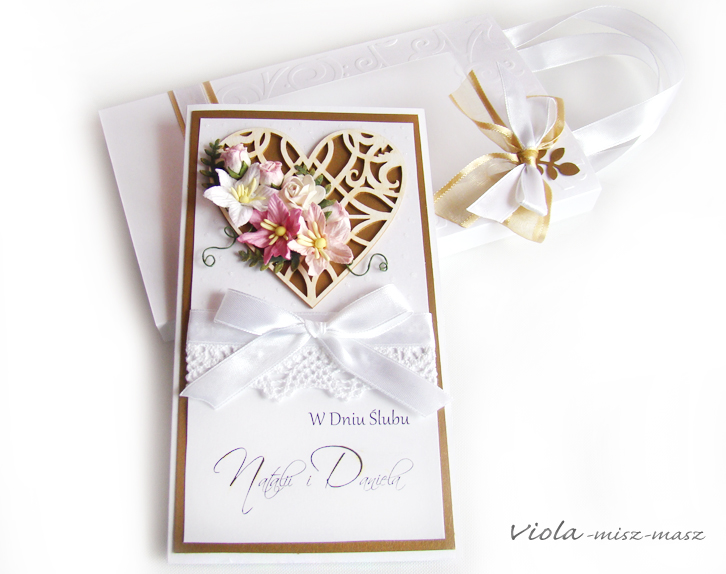 kartka ślubna z sercem
