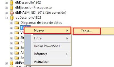 Crear una tabla SQL Server 2014