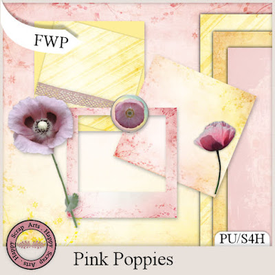 New in store by Happy Scrap Arts Pink Poppies and sale