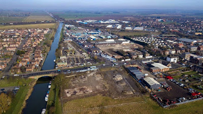 Bird's eye view of Brigg by Neil Stapleton in February 2019 - also showing the New River Ancholme and the  Waters Edge housing estate in Broughton