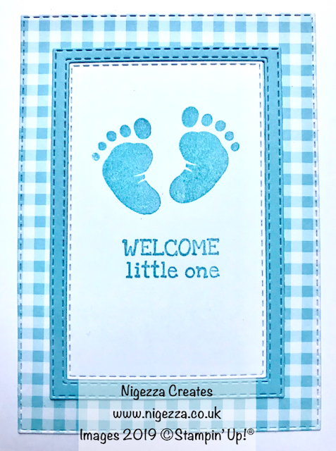 Baby Card Using Stampin' Up! Gingham Gala & First Steps Nigezza Creates