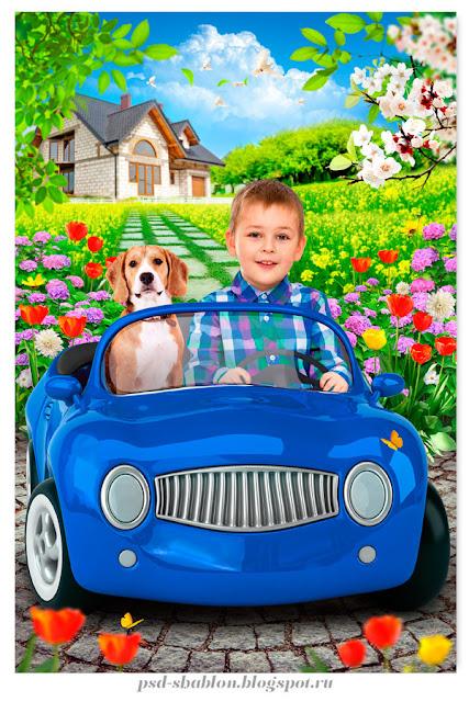 детский портрет в машинке