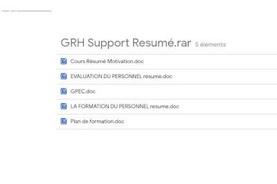 GRH Support de Cours Resumé