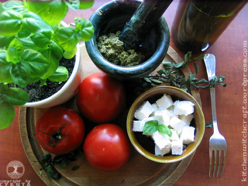 Ingredients for Tomato and Pesto Salad
