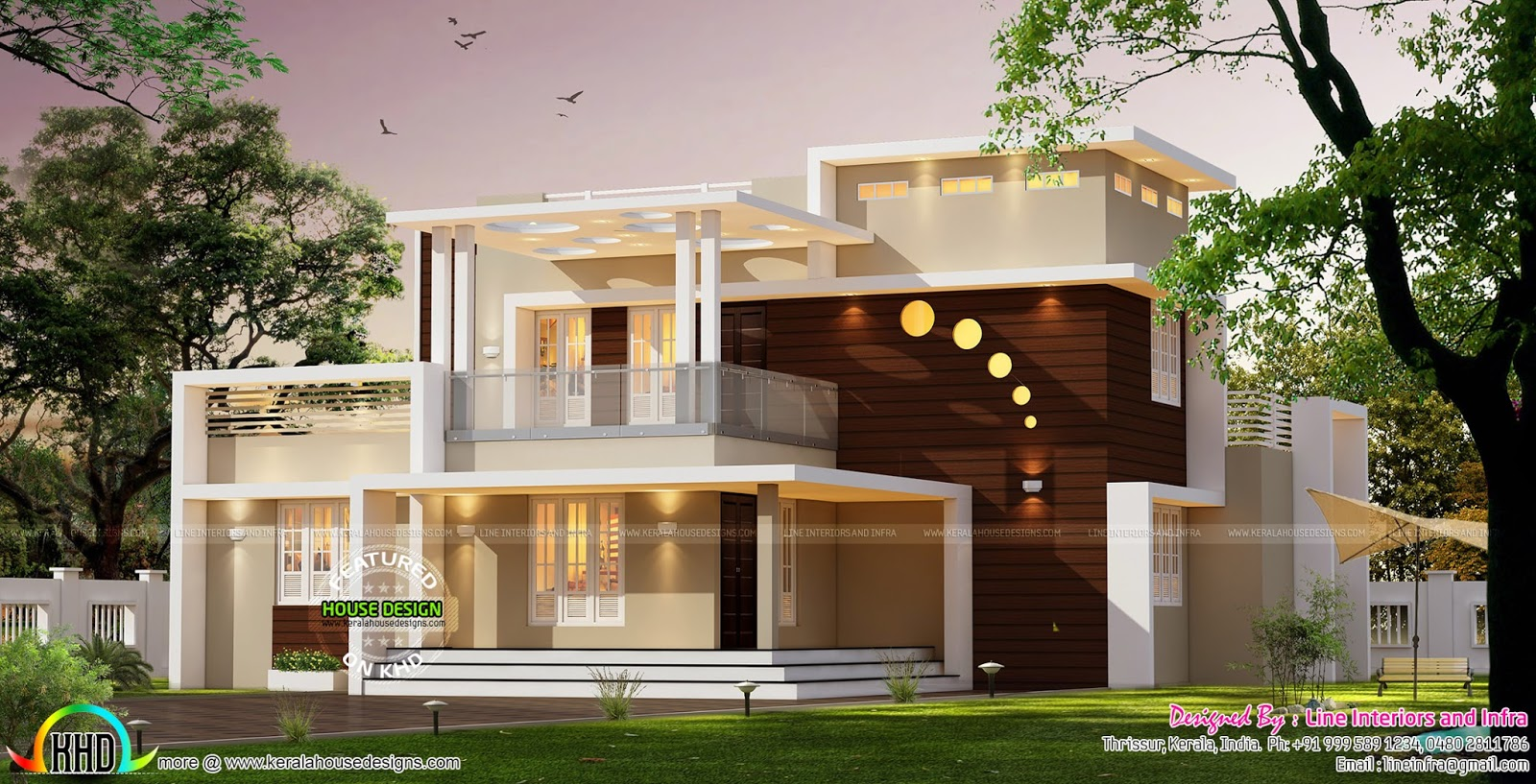 Contemporary style home architecture 3000 sq ft kerala for Home designs 3000 sq ft