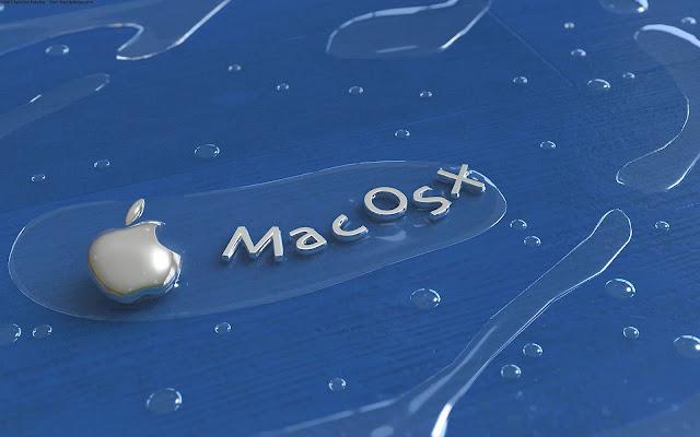 Blauwe achtergrond met grijze Apple Mac OS X letters