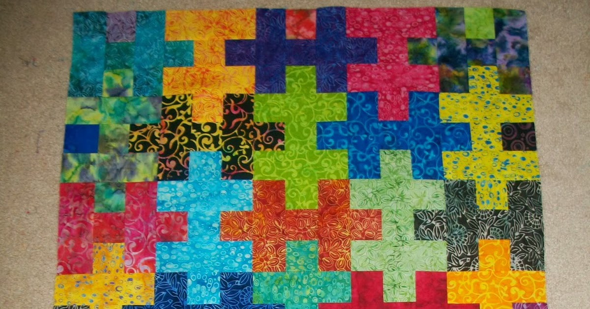 Sew Cook And Travel Jigsaw Puzzle Quilt Top In Batiks
