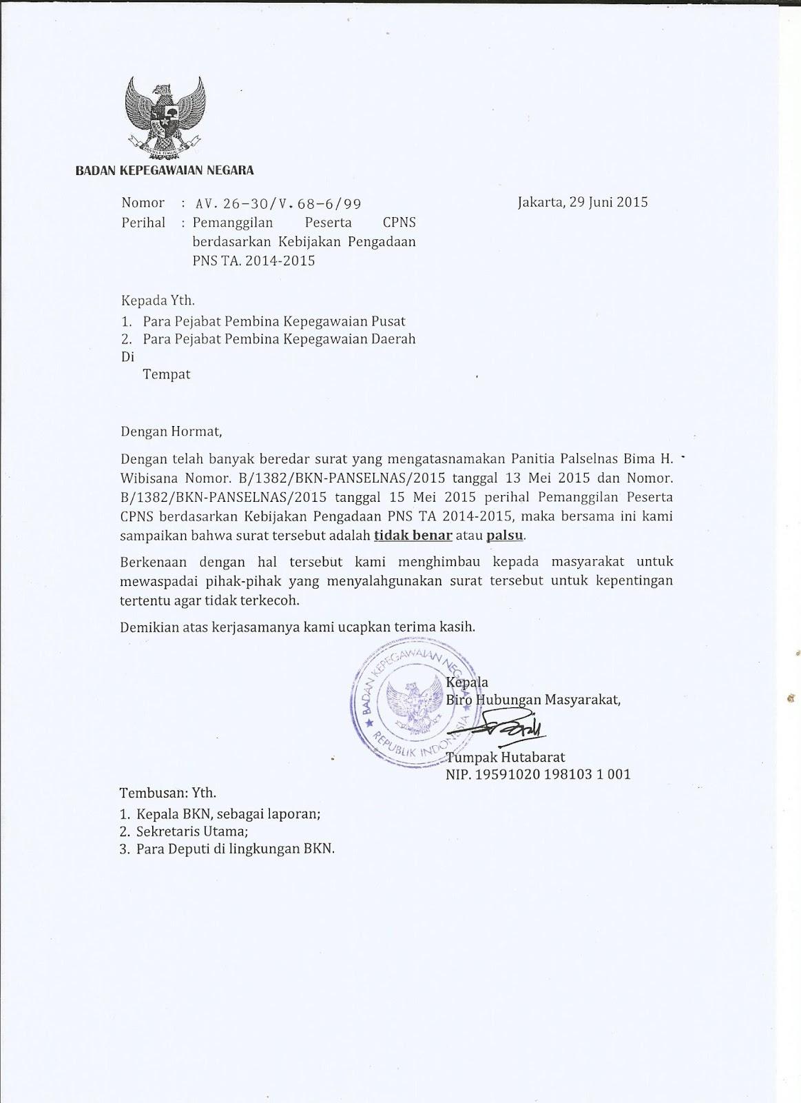 Contoh Surat Palsu Pengadaan Cpns Tahun 2014 S D 2015 Resmi Menpan