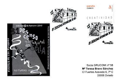 Tarjeta con el matasellos del 81 Descenso Internacional del Sella, Piraguas 2017