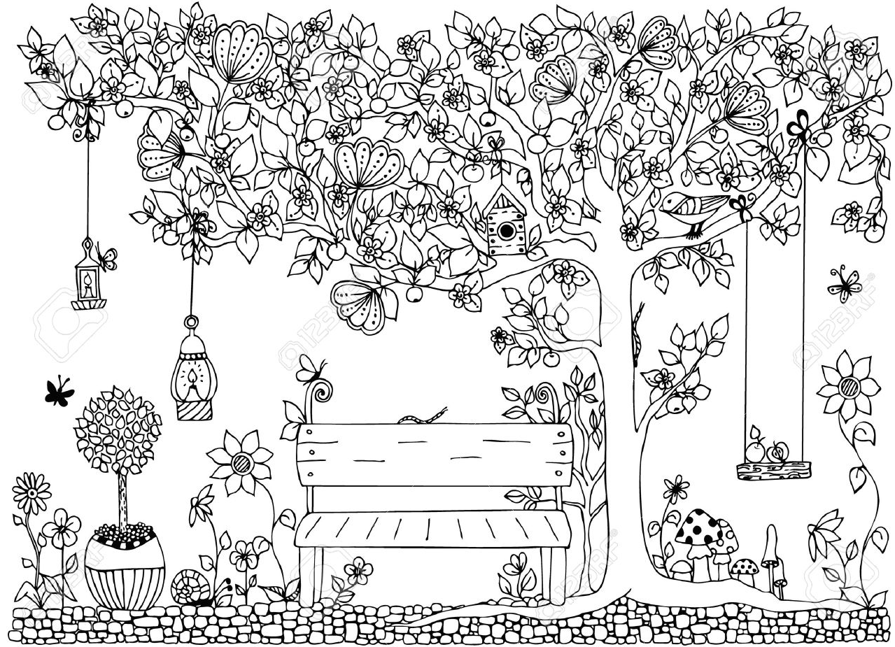 Gambar Mewarnai Pemandangan Taman Bunga Anak TK PAUD Terbaru