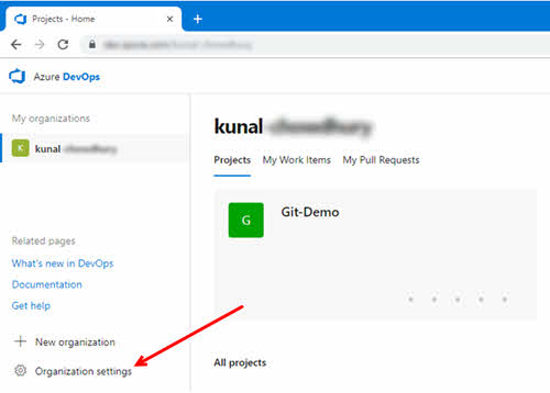 Click the 'Organization settings' link on the VSTS or Azure DevOps home