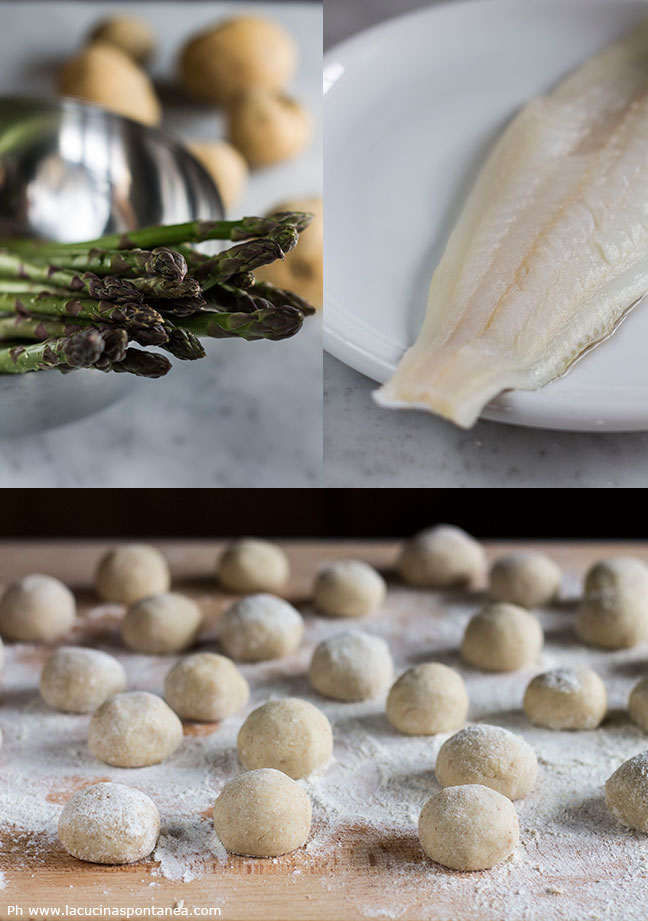 Passaggi gnocchi ripieni di baccalà su crema di asparagi