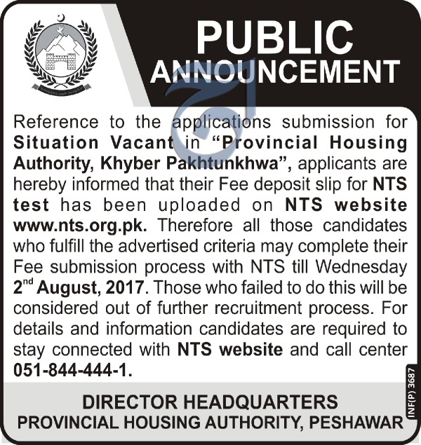 Jobs in Provincial Housing Authority Peshawar 29 July 2017.