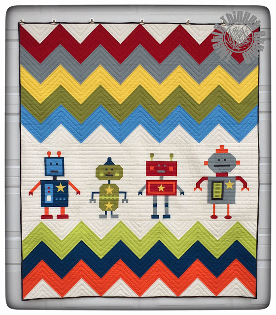 Thistle Thicket Studio, Robots All In A Row quilt, robot quilt