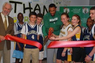 McLaughlin Celtics Lab ribbon cutting with Jared Sullinger
