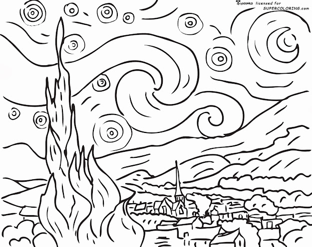 Vincent Van Gogh Starry Night Coloring Pages