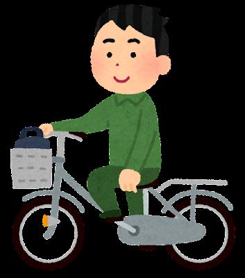 自転車の片手運転をする人のイラスト