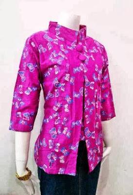 Contoh baju pesta atasan batik