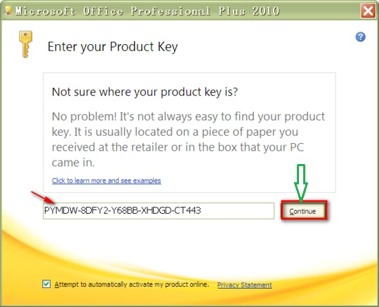 microsoft office home and student 2010 activation key