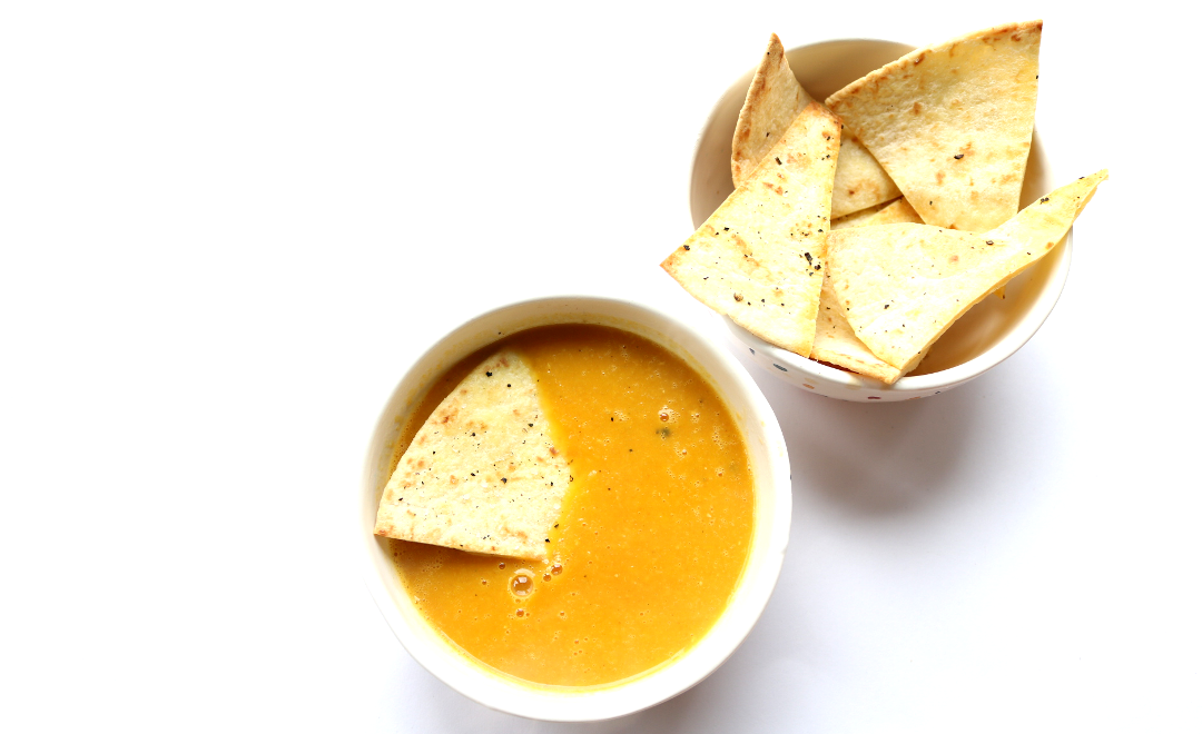 Carrot and Lentil Soup with Salt & Pepper Tortilla Chips (Vegan recipe)