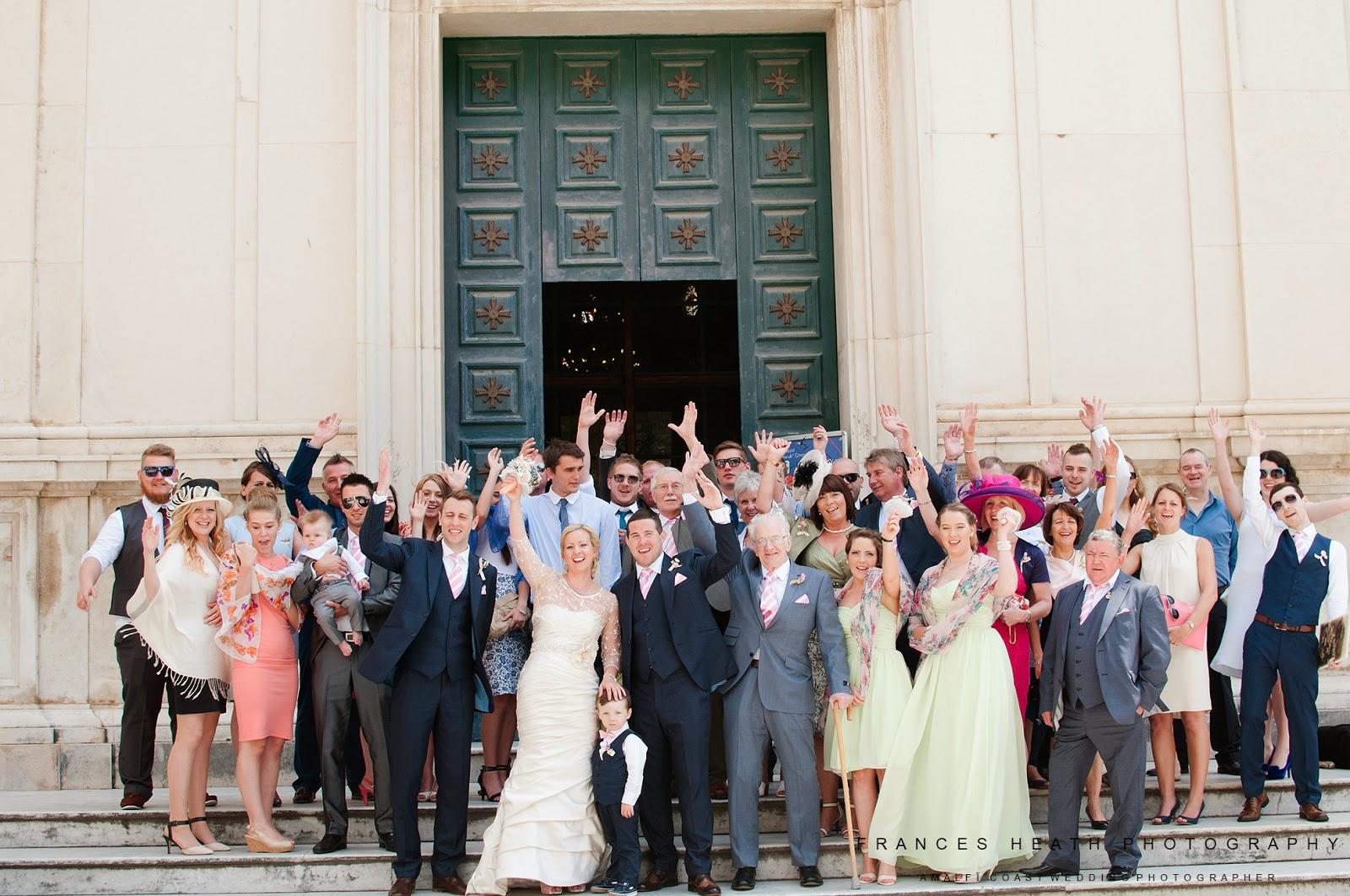 Group wedding photo in Positano