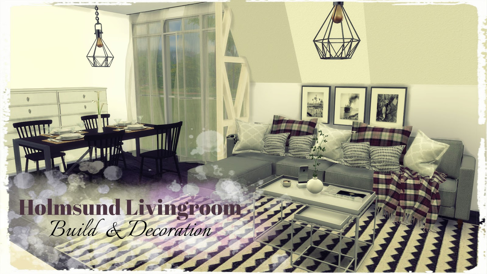 Sims 4 holmsund livingroom build decoration dinha for Living room 4 pics 1 word