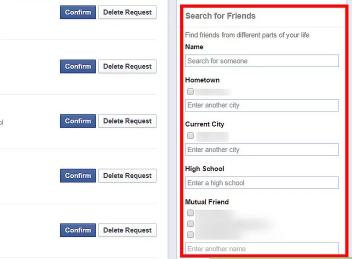 Facebook Find Friend - Low Engine